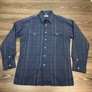 Christian Dior Navy Plaid Shirt M